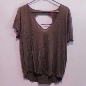Express Olive green Short Sleeve Tee w/Cutout Back